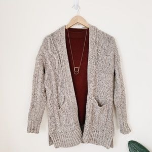 Madewell Warm Gray Chunky Cable Knit Cardigan